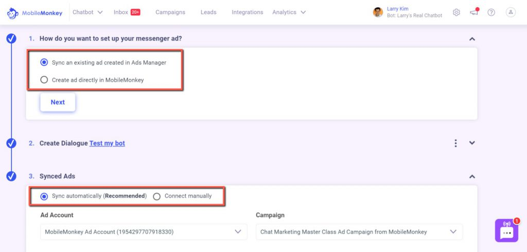 Facebook click-to-Messenger ad builder