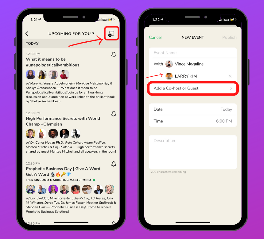 Clubhouse app lead generation: Create a Room