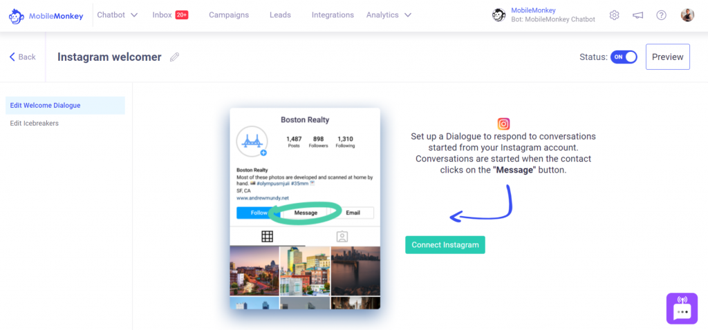 Instagram automated messages: Welcome Message