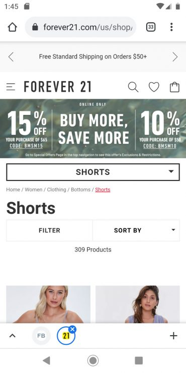 Forever 21 mobile landing page
