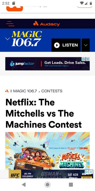 MAGIC 106.7's mobile landing page for a Netflix competition.