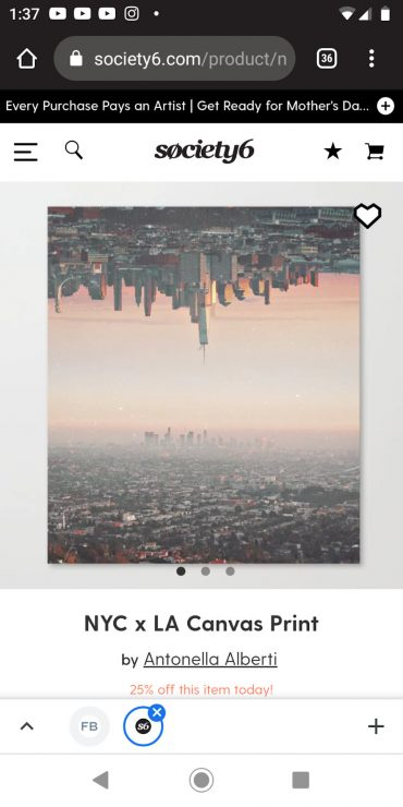 Society6 mobile landing page