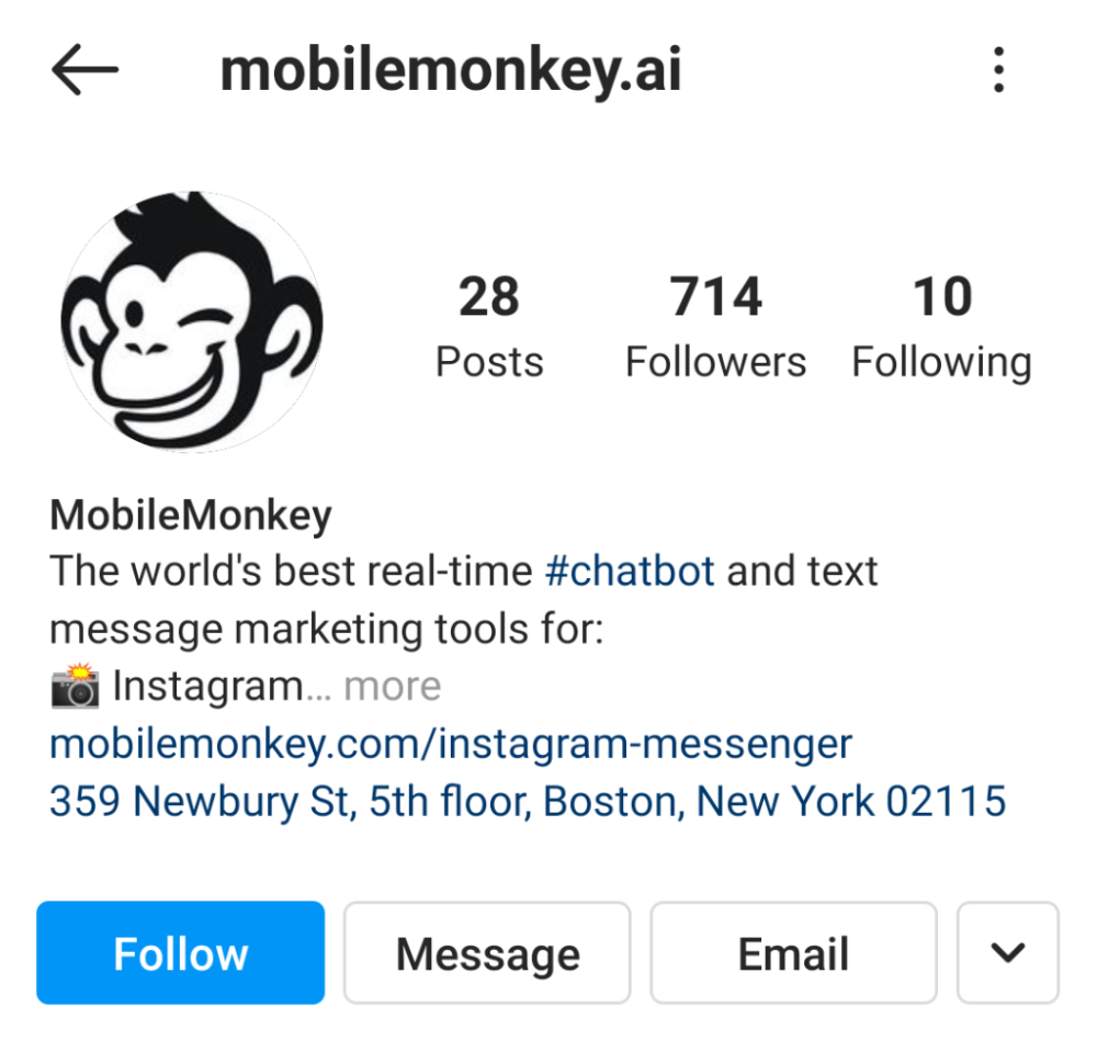 """MobileMonkey's Instagram bio. """"The world's best real-time #chatbot and text message marketing tools for..."""""""