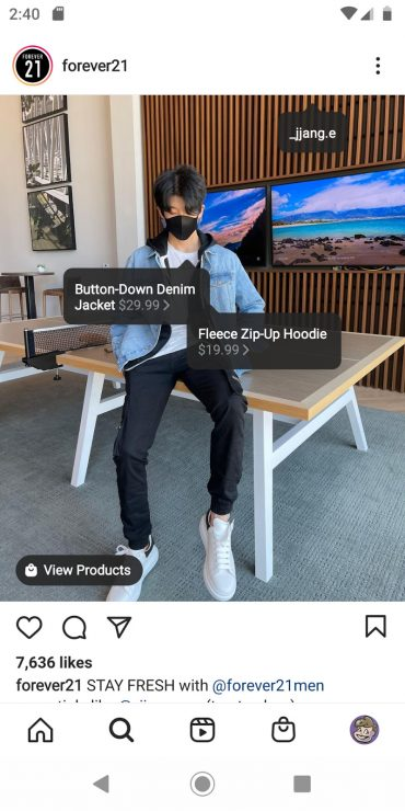 """A shoppable Instagram post that tags an influencer in a denim jacket and a fleece hoodie. The CTA reads """"View Products."""""""
