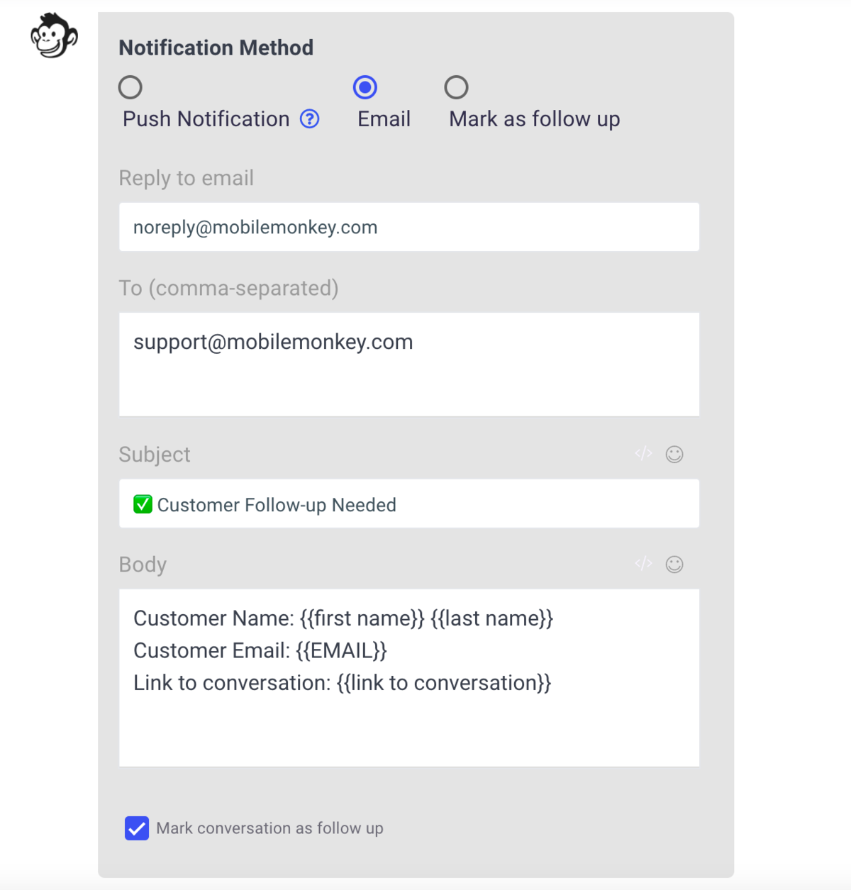 notification for customer followup