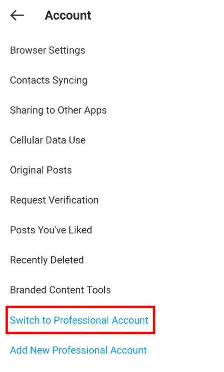 An image showing where to find the Switch to Professional Account option under the Account tab in Instagram.