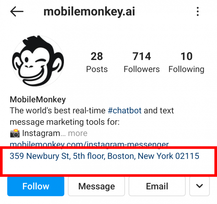 MobileMonkey's Instagram profile. The physical address shows up under the business bio.
