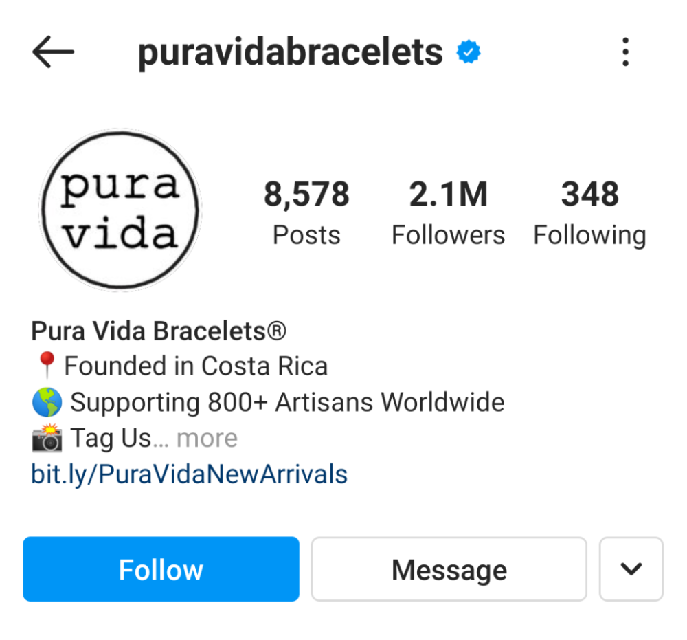 """Pura Vida Bracelets's Instagram. """"Founded in Costa Rica. Supporting 800+ Artisans Worldwide. Tag us…"""