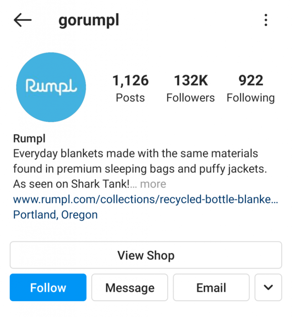 """Rumpl's Instagram. """"Everyday blankets made with the same materials found in premium sleeping bags and puffy jackets. …"""""""