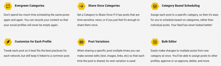 Some of SocialBee's features.