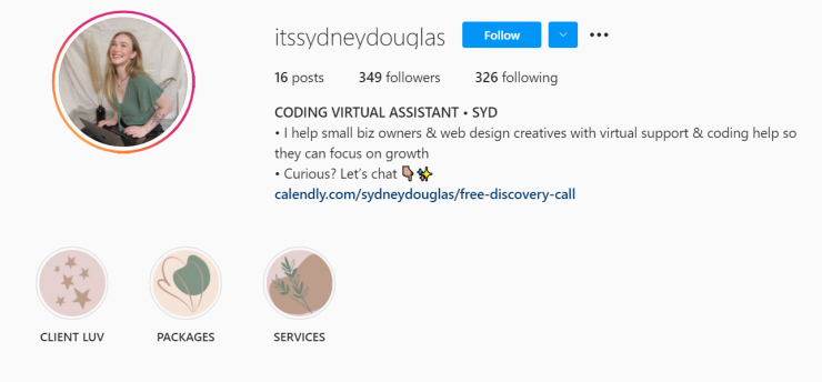 A creator sells virtual assistant services on Instagram