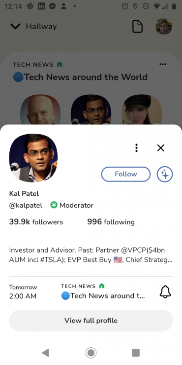 Screenshot of Kal Patel's profile inside a room on Clubhouse for Android