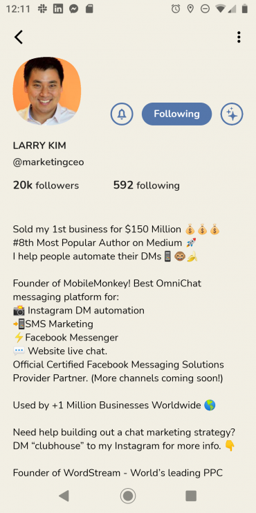 Larry Kim's profile on Clubhouse for Android