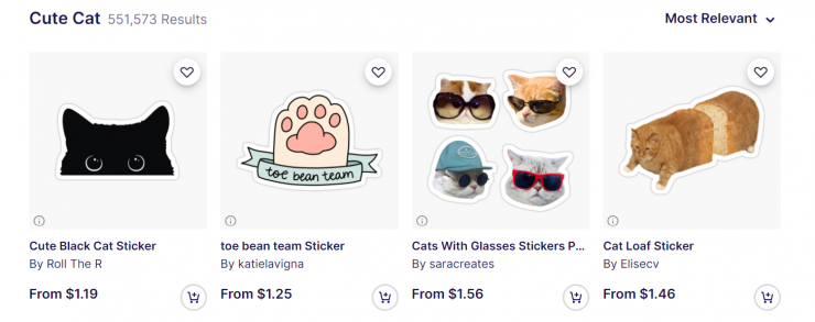 Independent artists sell cute cat art on Redbubble.