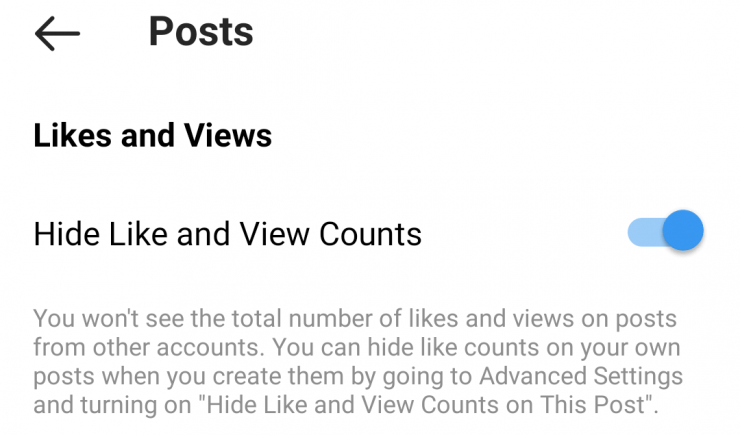 A screenshot showing how to toggle hidden likes on Instagram.