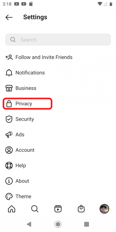 Go to Settings and click Privacy.