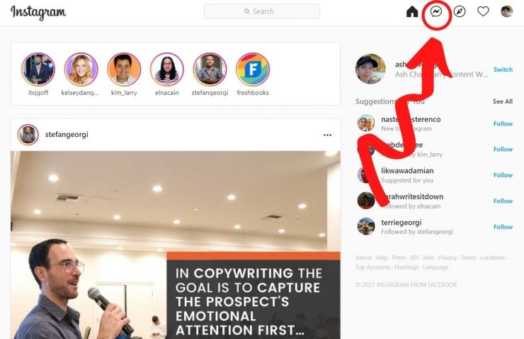 On desktop you can get to Instagram Direct at the top right of your screen